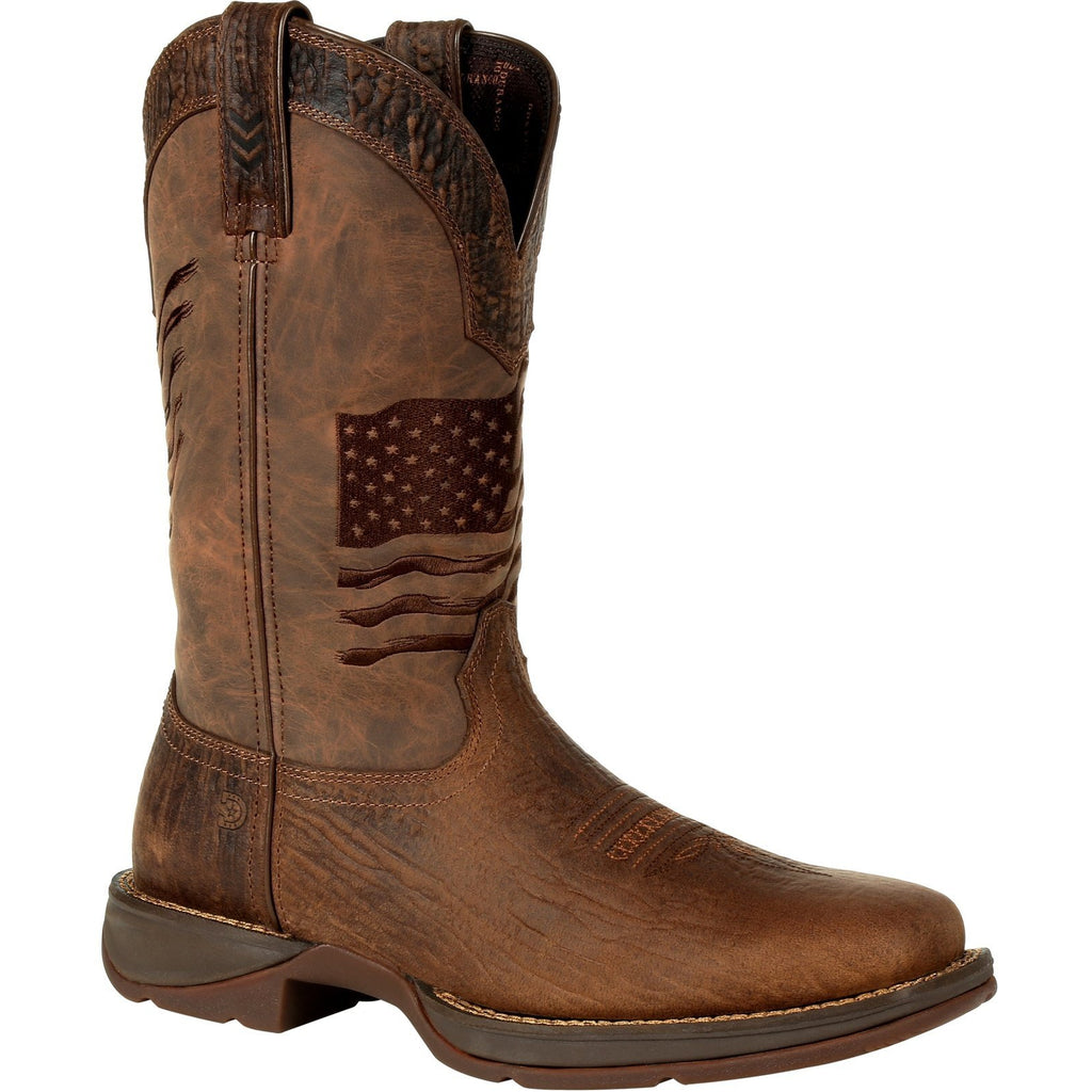 "Durango Men's Rebel Distressed Flag Embroidery 12"" Sqr Toe Western Boot 7 / Medium / Brown - Overlook Boots"