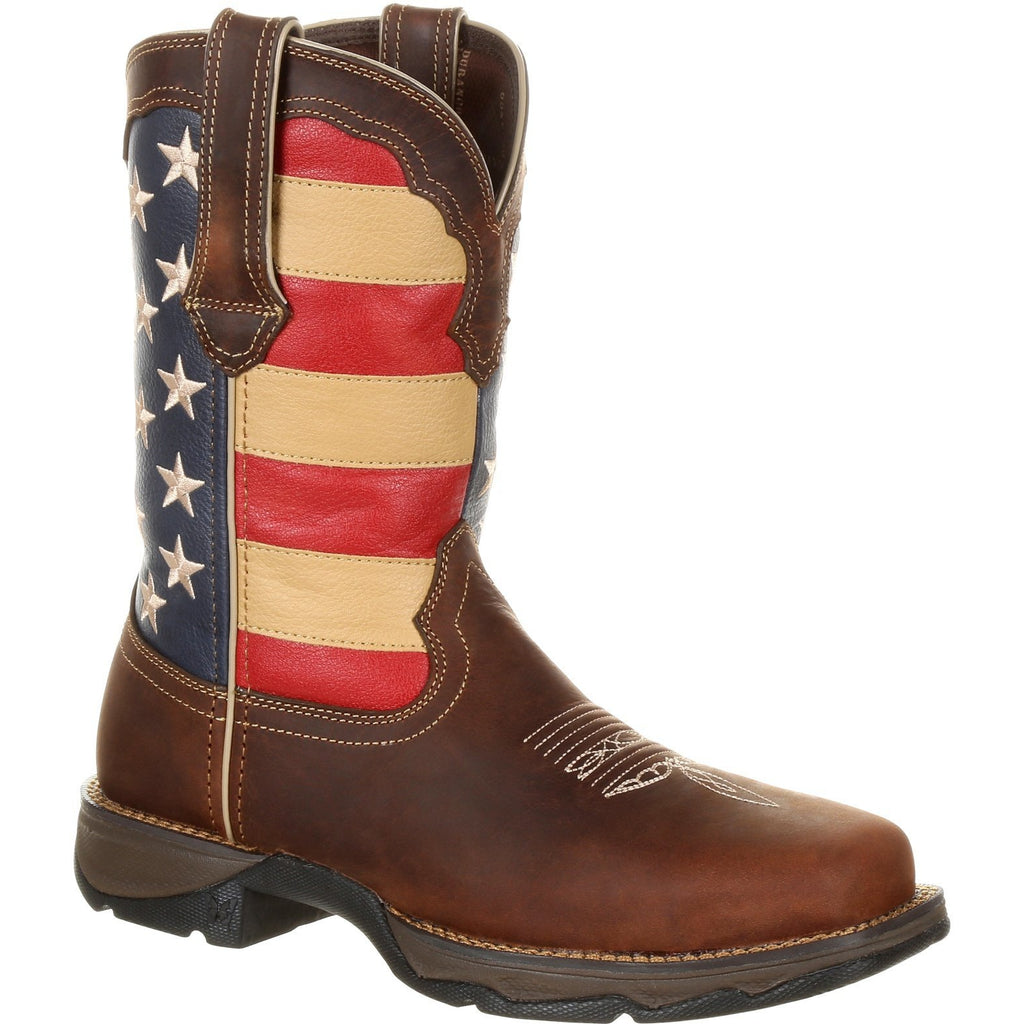 "Durango Women's Lady Rebel 10"" Steel Toe Patriotic Flag Work Boot 6 / Medium / Brown - Overlook Boots"