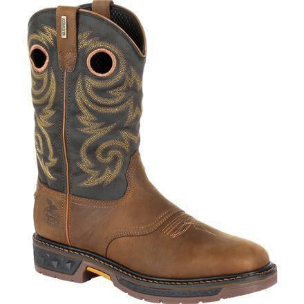 "Georgia Men's Carbo-Tec LT 11"" Pull-On WP Western Boot -Brown- GB00266 8 / Medium / Brown - Overlook Boots"