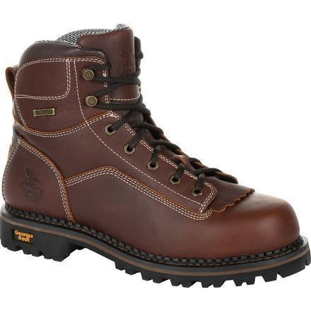 "Georgia Men's Amp LT Low-Heel Logger 6"" WP Work Boot - Brown - GB00270 8 / Medium / Brown - Overlook Boots"