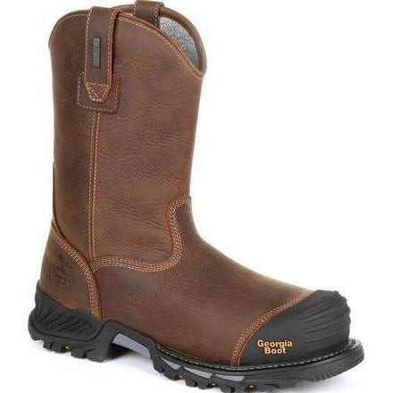 "Georgia Men's Rumbler 10"" Comp Toe WP Pull-On Work Boot-Brown- GB00286 8 / Medium / Brown - Overlook Boots"