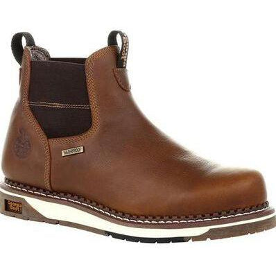 Georgia Men's Wedge Chelsea Soft Toe WP Work Boot - Brown - GB00352 7 / Medium / Brown - Overlook Boots