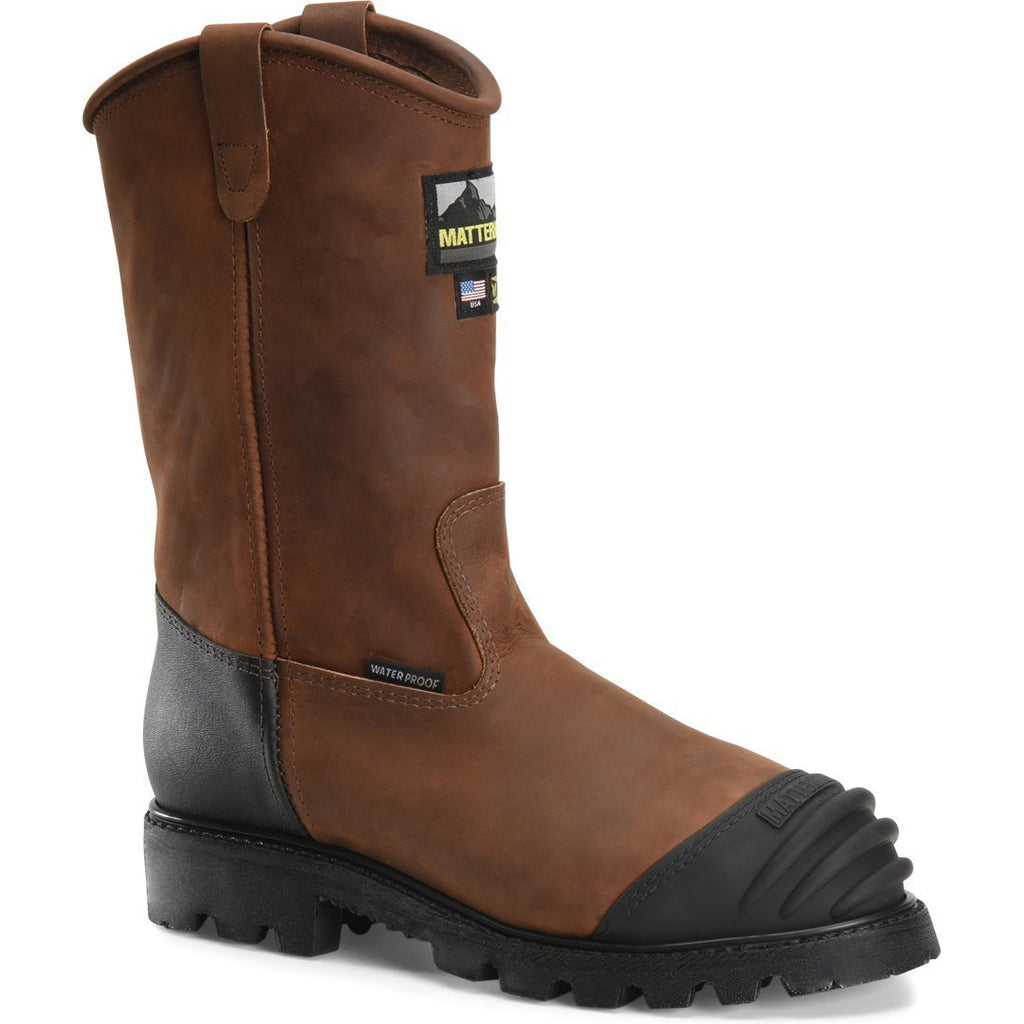 "Matterhorn Men's Longwall 11"" Stl Toe WP MG USA Made Work Boot- Brown- MT210 8 / Medium / Brown - Overlook Boots"