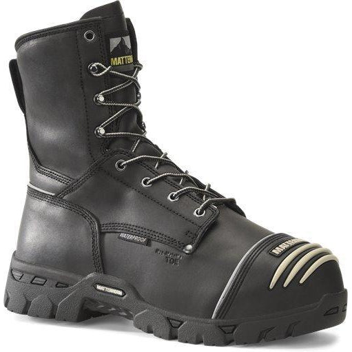 "Matterhorn Men's Conveyor 8"" Comp Toe WP MG PR Work Boot- Black- MT801 7 / Medium / Black - Overlook Boots"