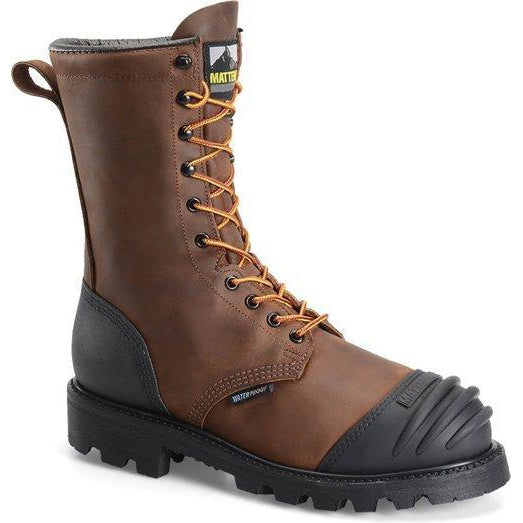 "Matterhorn Men's Copper 10"" Steel Toe WP MG USA Made Work Boot - MT910 8 / Medium / Brown - Overlook Boots"