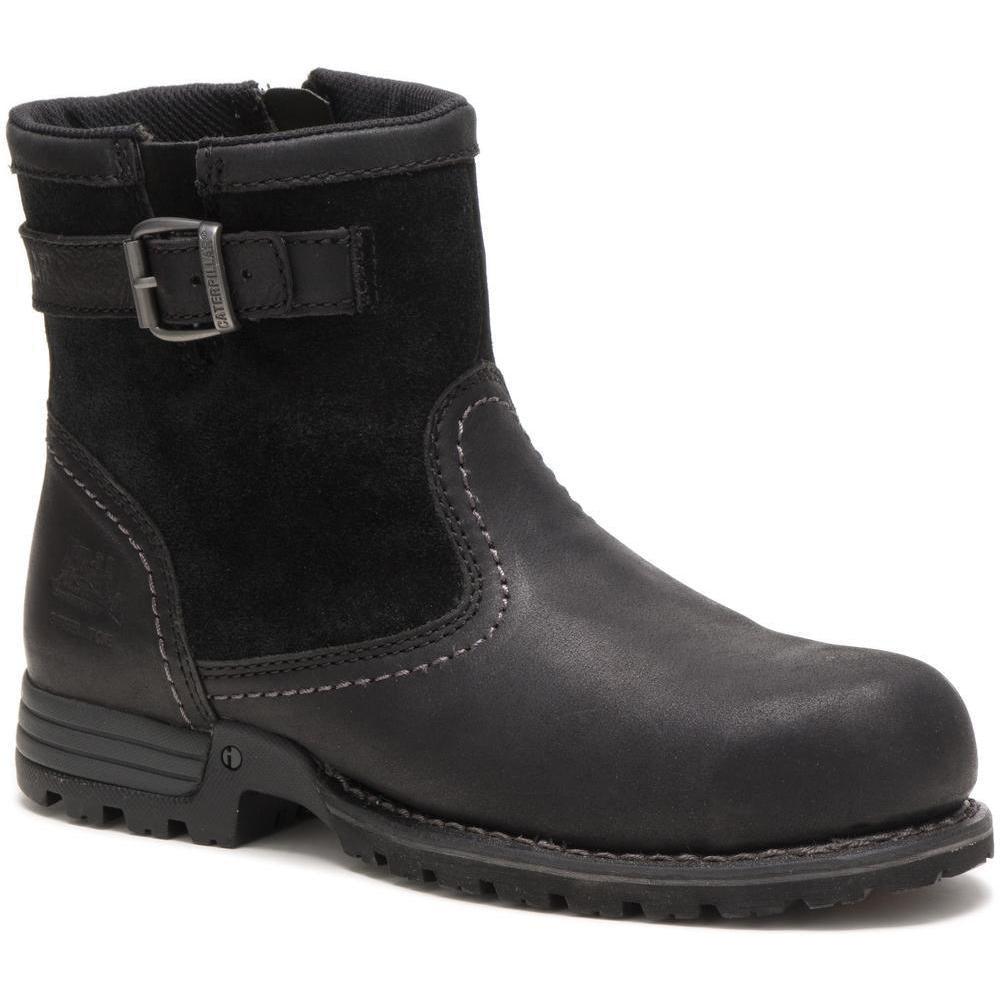 CAT Women's Jace Steel Toe Waterproof Work Boot  - Black - P90562  - Overlook Boots