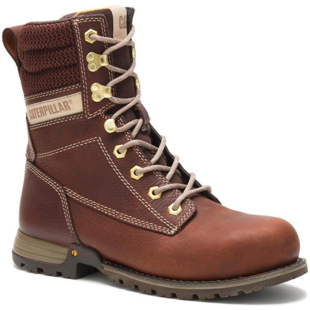 "CAT Women's Clover 8"" Steel Toe Waterproof Work Boot -Tawny - P91106 5 / Medium / Brown - Overlook Boots"