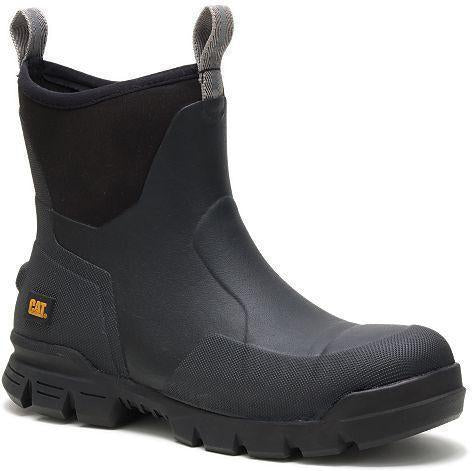 "CAT Men's Stormers 6"" Steel Toe WP Rubber Work Boot - Black - P91141 7 / Medium / Black - Overlook Boots"