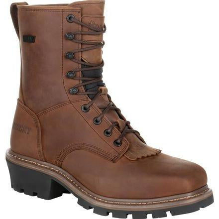 Rocky Men's Square Toe Logger Comp Toe WP Work Boot - Brown - RKK0277 8 / Medium / Brown - Overlook Boots
