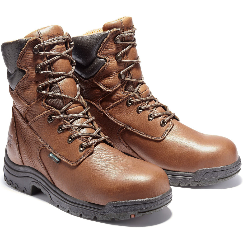"Timberland PRO Men's TiTAN 8"" Alloy Toe WP Work Boot Brown TB047019210 7 / Medium / Cappuccino - Overlook Boots"