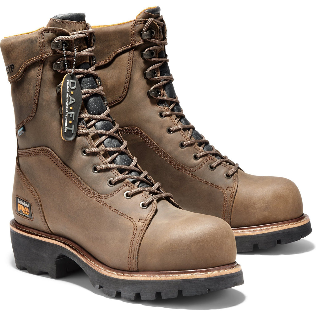 Timberland PRO Men's Rip Saw Comp Toe WP Ins Logger Work Boot - TB089656214 7 / Medium / Brown - Overlook Boots