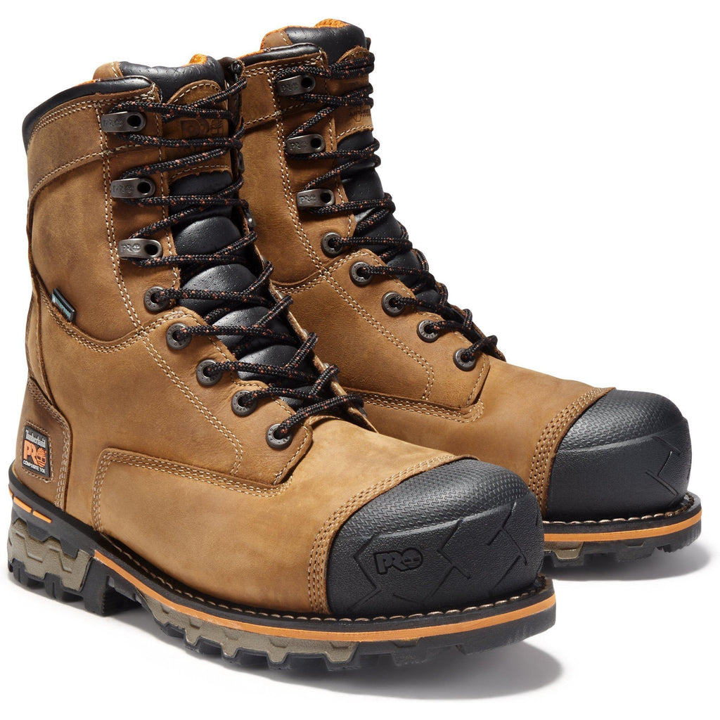 "Timberland PRO Men's Boondock 8"" Comp Toe WP Work Boot - TB092671214 7 / Medium / Brown Oiled Distressed - Overlook Boots"