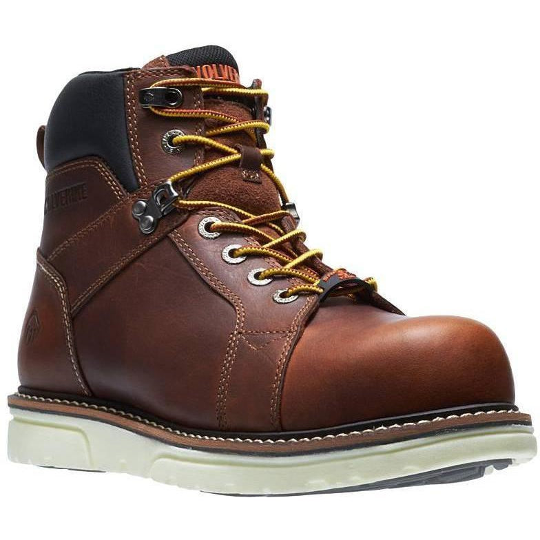 "Wolverrine Men's 6""  1-90  Durashocks Wedge Work Boot - Brown - W10888 7 / Medium / Brown - Overlook Boots"