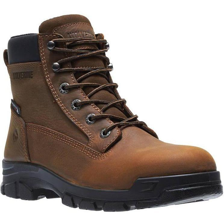 "Wolverine Men's 6"" Chainhand Steel Toe WP Work Boot - Brown - W10916 7 / Medium / Brown - Overlook Boots"