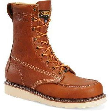 "Carolina Men's Amp USA Made 8"" Moc Toe Work Boot - Tobacco - CA7002 8 / Medium / Tobacco - Overlook Boots"