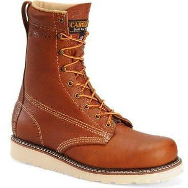 "Carolina Men's Amp USA Made 8"" Wedge Work Boot - Tobacco - CA7001 8 / Medium / Tobacco - Overlook Boots"