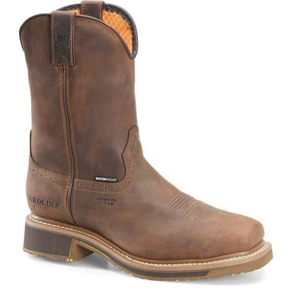 "Carolina Men's Anchor 10"" WP Comp Square Toe Roper Work Boot - CA8536 8 / Medium / Brown - Overlook Boots"