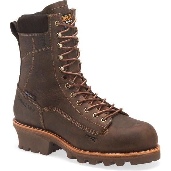 "Carolina Men's Birch 8"" Comp Toe WP INS Logger Work Boot Brown CA7521 8 / Medium / Brown - Overlook Boots"