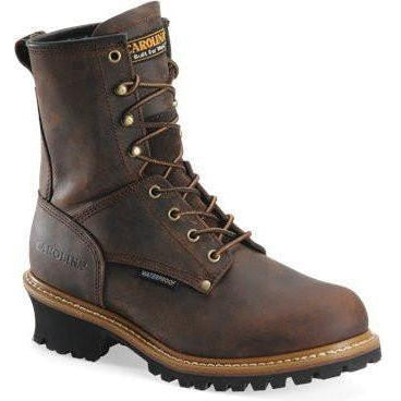 "Carolina Men's Elm 8"" Waterproof Logger Work Boot - Brown - CA8821 7 / Medium / Brown - Overlook Boots"