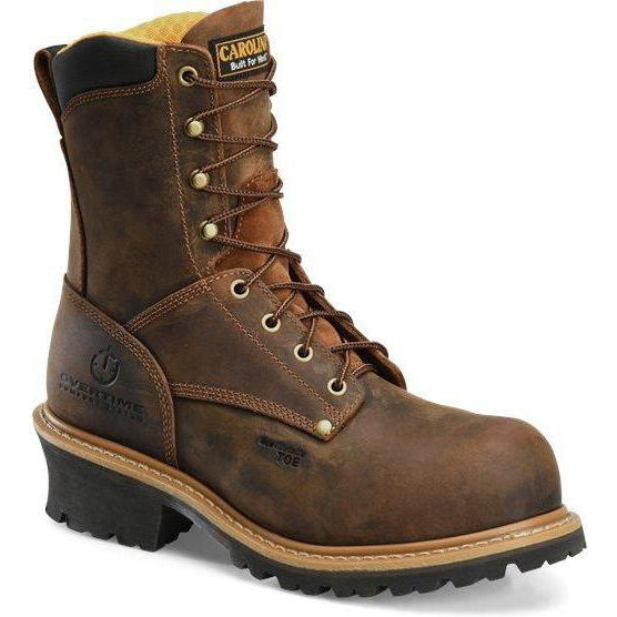 "Carolina Men's Poplar 8"" Logger Comp Toe Work Boot - Brown - CA9853 8 / Medium / Brown - Overlook Boots"
