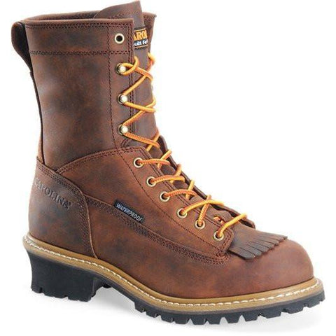 "Carolina Men's Spruce 8"" WP Lace-to-Toe Logger Work Boot, Brown CA8824 8 / Medium / Brown - Overlook Boots"