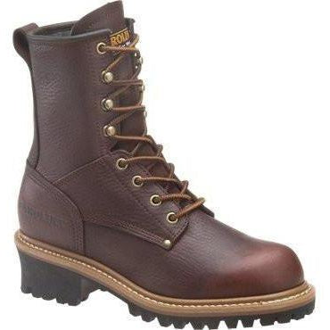 "Carolina Women's Elm 8"" Logger Work Boot - Brown - CA421 4 / Medium / Dark Brown - Overlook Boots"