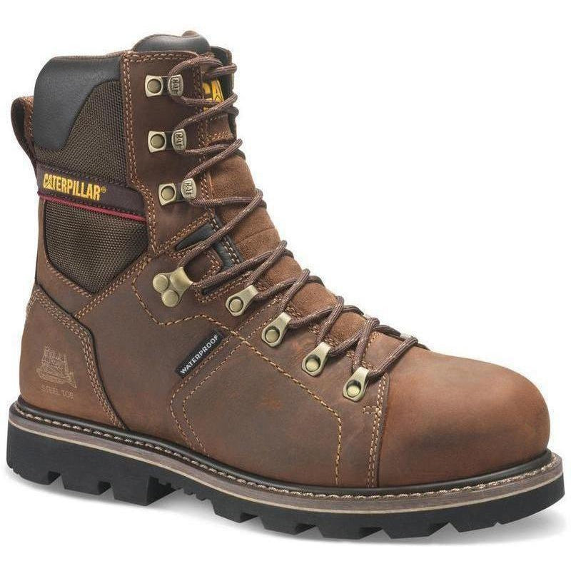 "CAT Men's Alaska 2.0 8"" Steel Toe TX Waterproof Work Boot Brown P90979  - Overlook Boots"