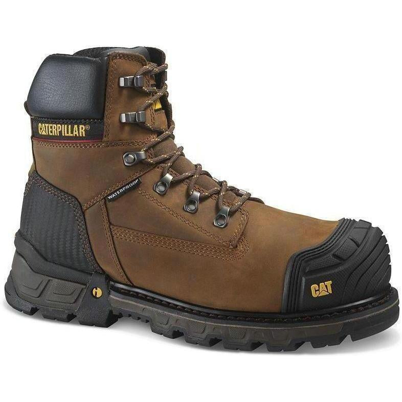 "CAT Men's Exavator 6"" XL Comp Toe WP Work Boot - Brown - P90991  - Overlook Boots"