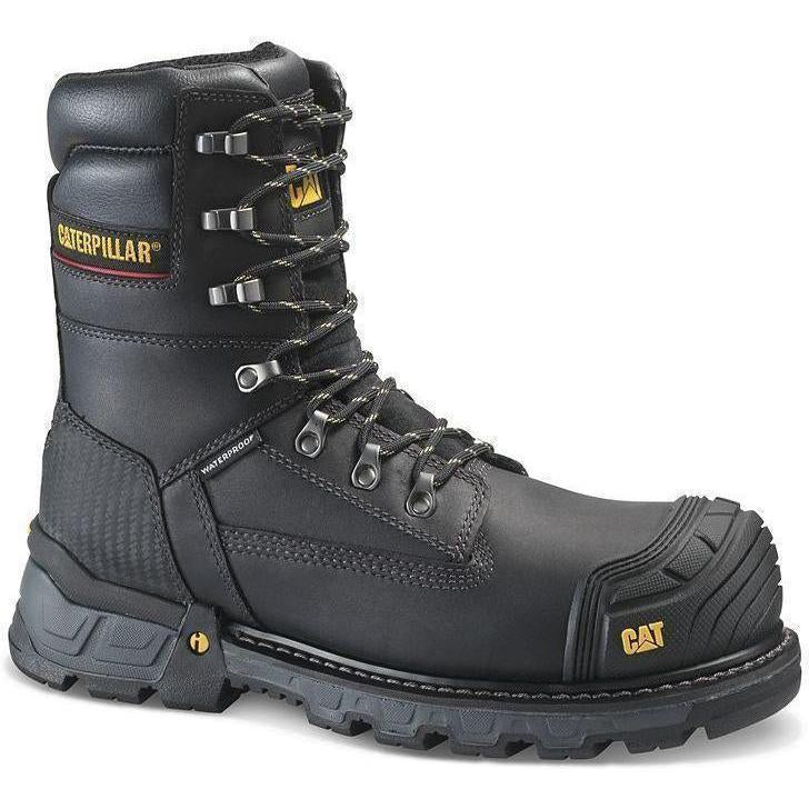 "CAT Men's Exavator 8"" XL Comp Toe WP Work Boot - Black - P90994 7 / Medium / Black - Overlook Boots"