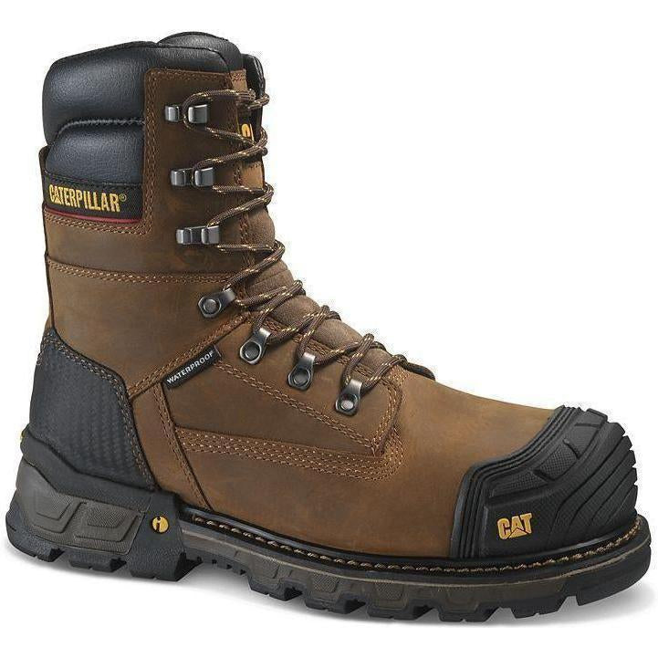 "CAT Men's Exavator 8"" XL Comp Toe WP Work Boot - Brown - P90996  - Overlook Boots"