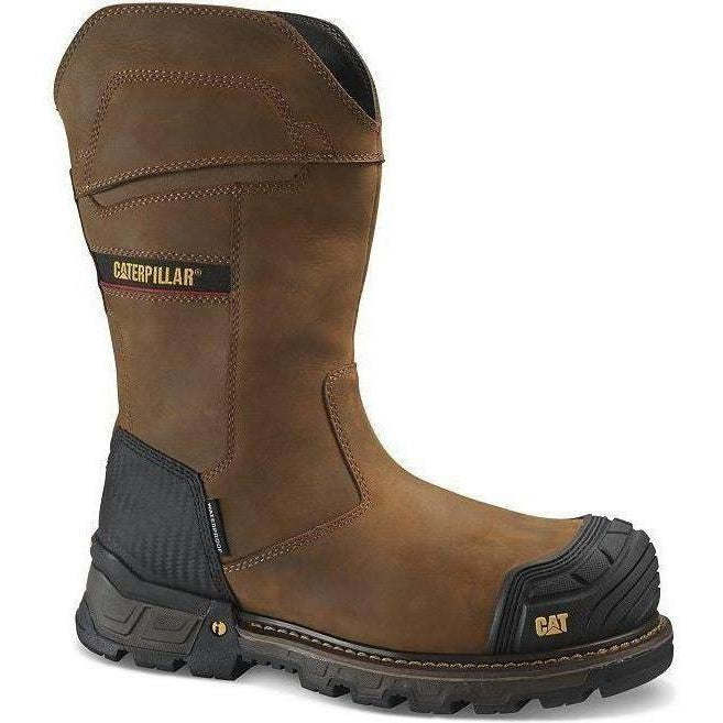 CAT Men's Exavator XL Comp Toe WP Pull On Work Boot - Brown - P90999  - Overlook Boots