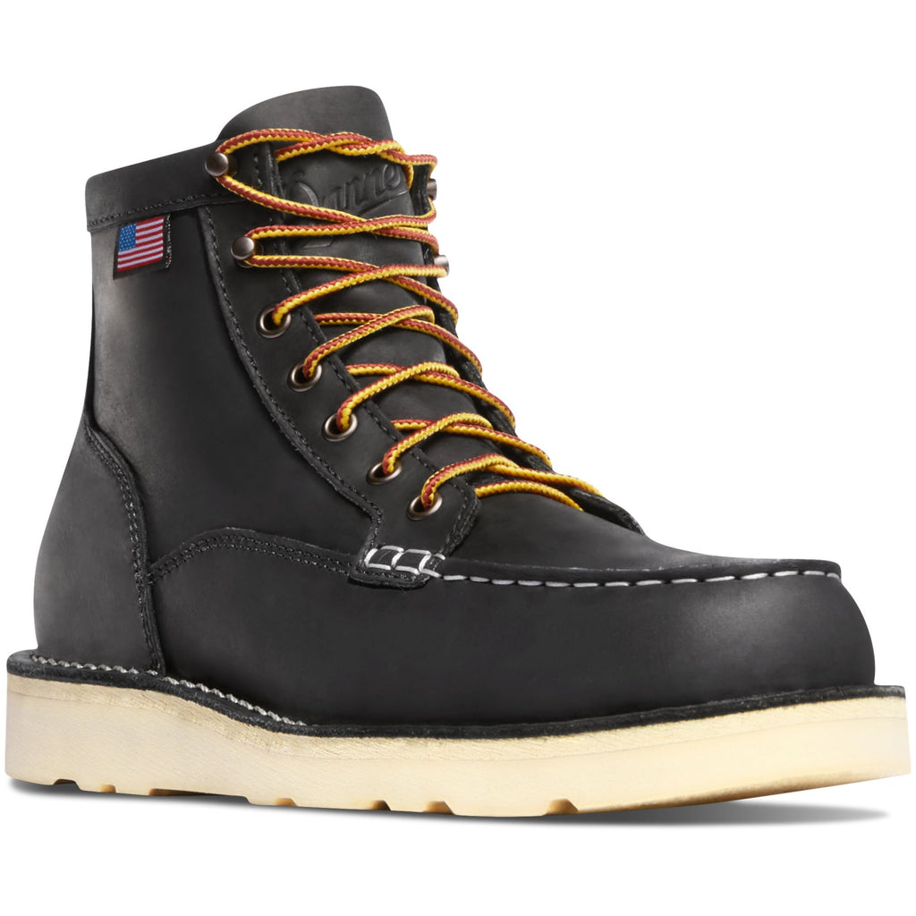 "Danner Men's Bull Run USA Made  6"" Moc Steel Toe Work Boot Black 15569 7 / Medium / Black - Overlook Boots"