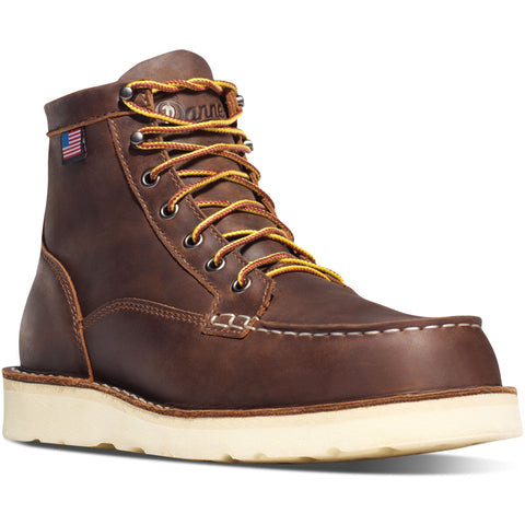 "Danner Men's Bull Run USA Made 6"" Moc Steel Toe Work Boot Brown 15564 7 / Medium / Brown - Overlook Boots"
