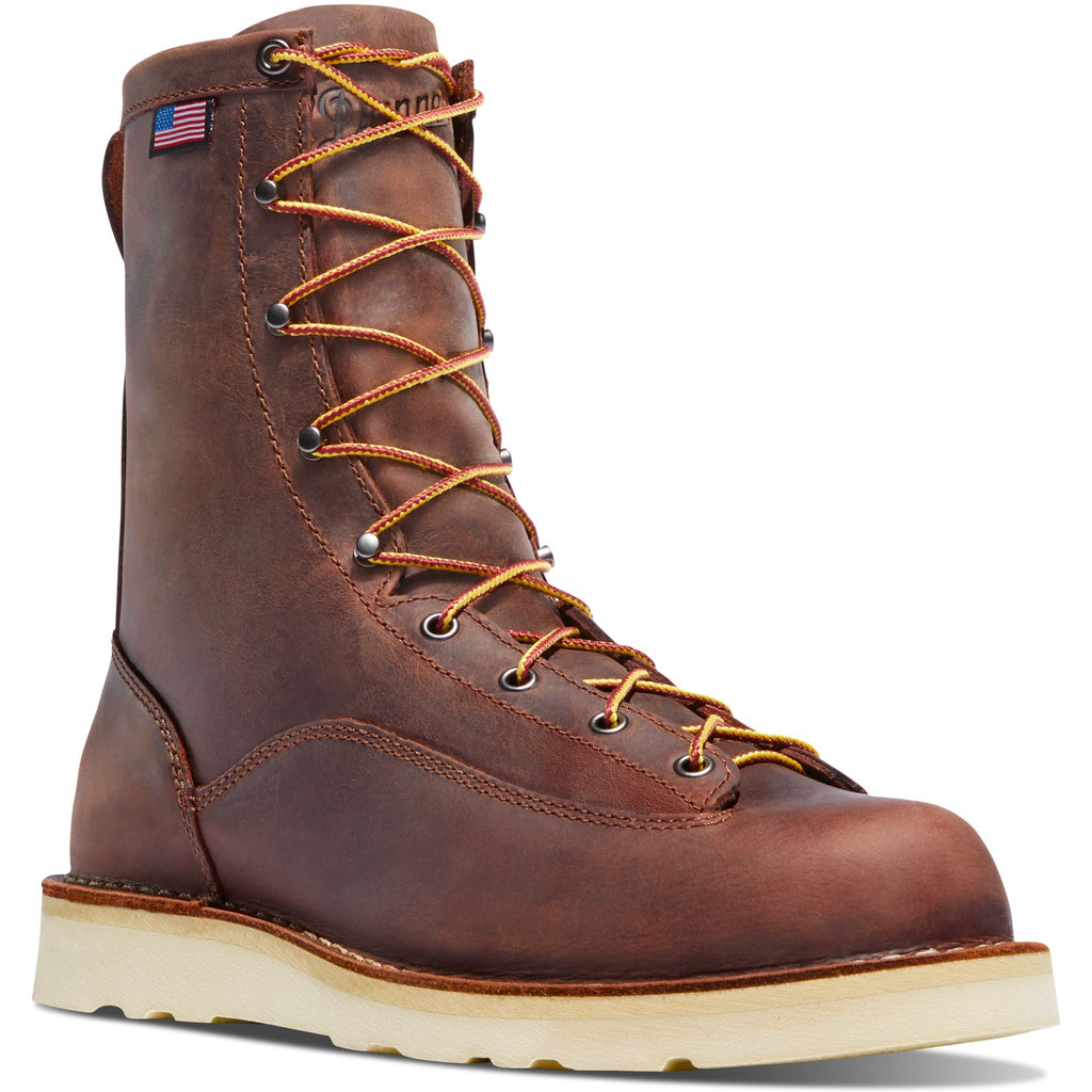"Danner Men's Bull Run USA Made 8"" Soft Toe Work Boot - Brown - 15556 7 / Medium / Brown - Overlook Boots"