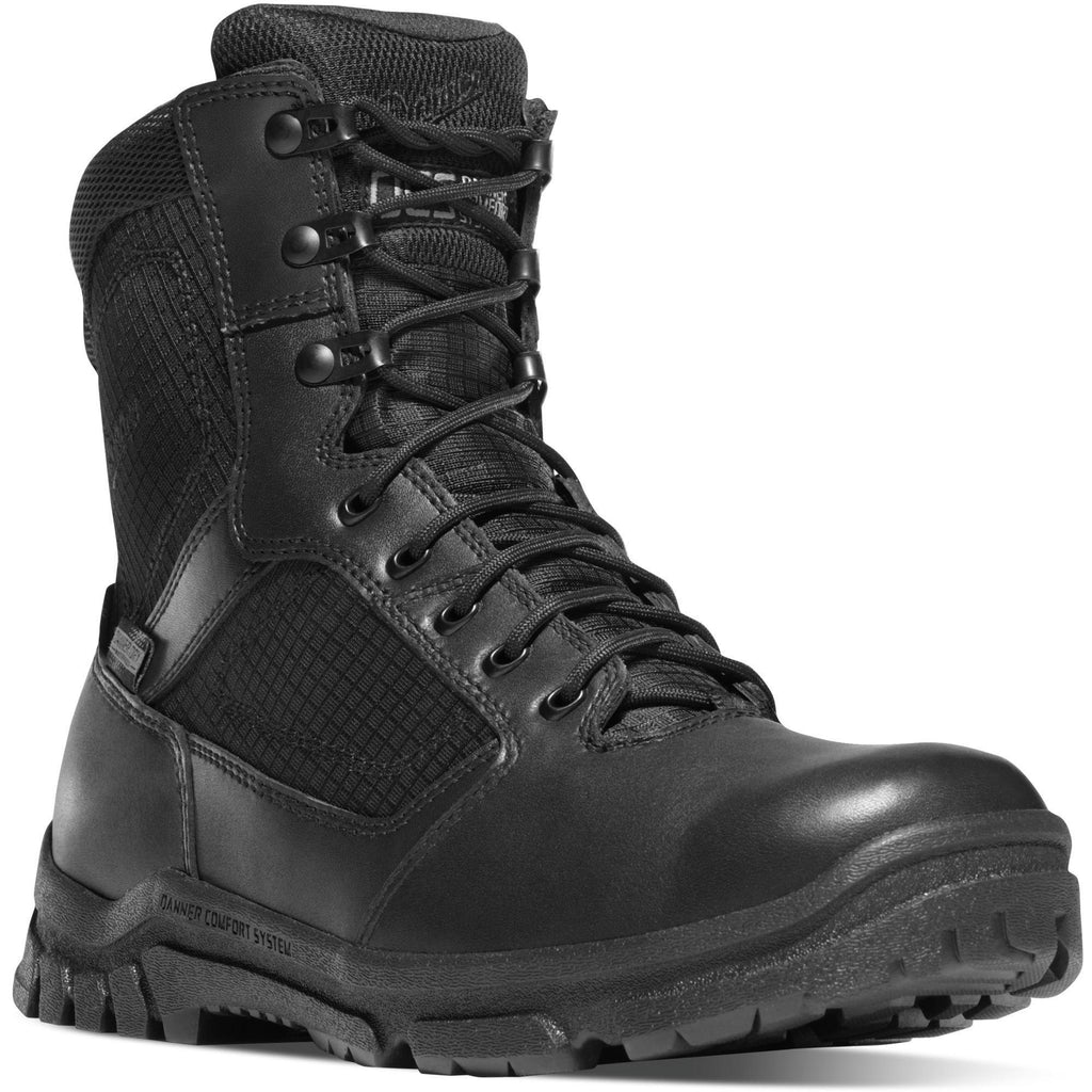 "Danner Men's Lookout 8"" Side Zip Waterproof Duty Boot - Black - 23824 7 / Medium / Black - Overlook Boots"