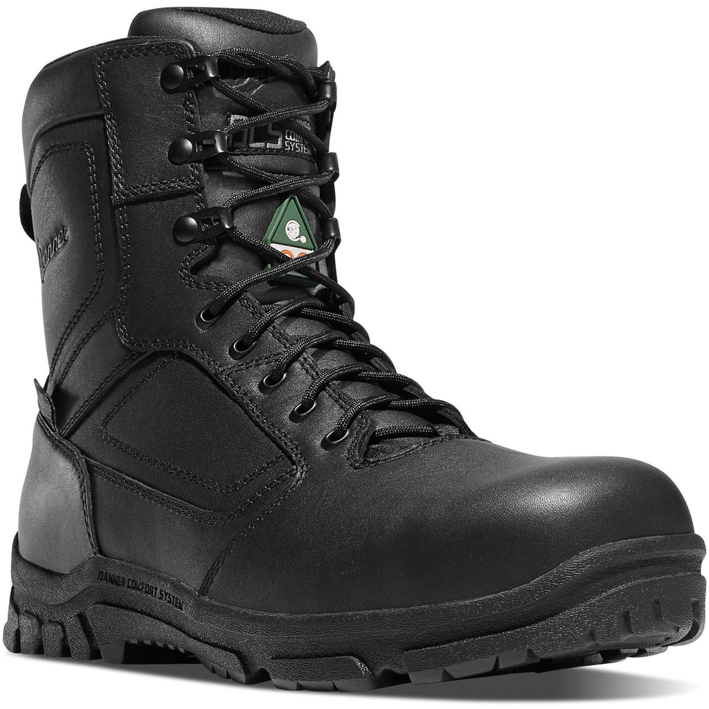 "Danner Men's Lookout EMS 8"" Side Zip Comp Toe WP Duty Boot Black 23826 7 / Medium / Black - Overlook Boots"