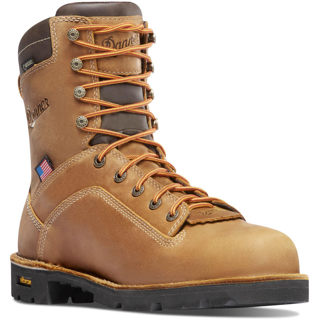 "Danner Men's Quarry USA Made 8"" Alloy Toe WP Work Boot - Brown - 17317 7 / Medium / Brown - Overlook Boots"