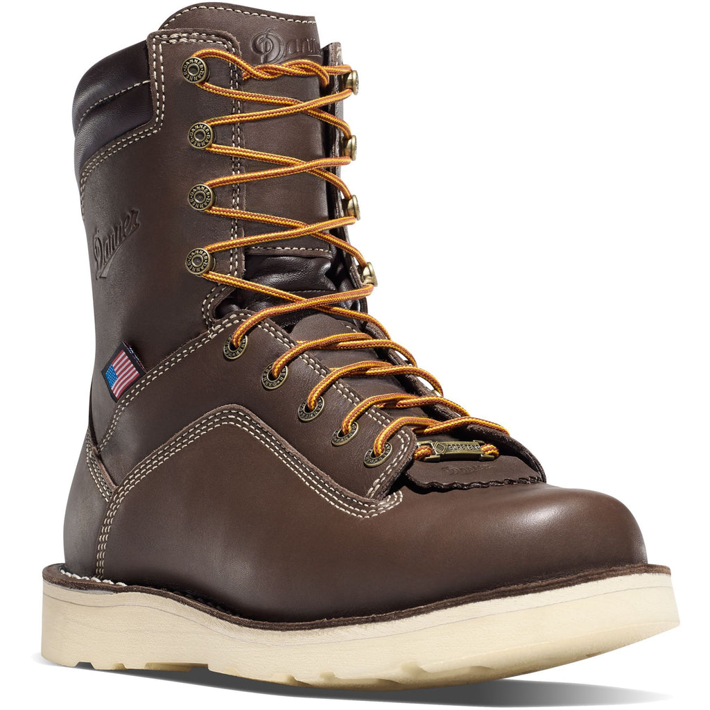 "Danner Men's Quarry USA Made 8"" Soft Toe Wedge WP Work Boot 17327 7 / Medium / Brown - Overlook Boots"