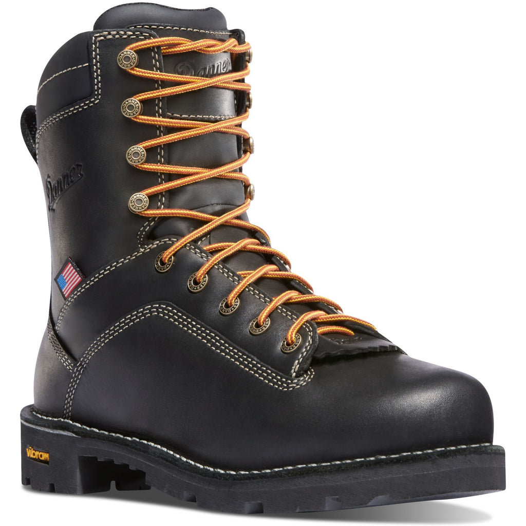 "Danner Men's Quarry USA Made 8"" Soft Toe WP Work Boot - Black - 17309 7 / Medium / Black - Overlook Boots"