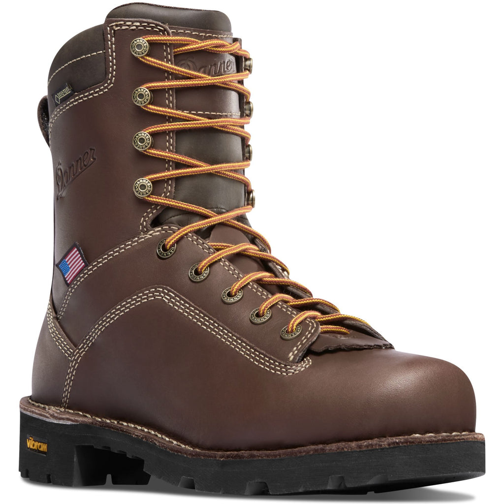 "Danner Men's Quarry USA Made 8"" Soft Toe WP Work Boot - Brown - 17305 7 / Medium / Brown - Overlook Boots"