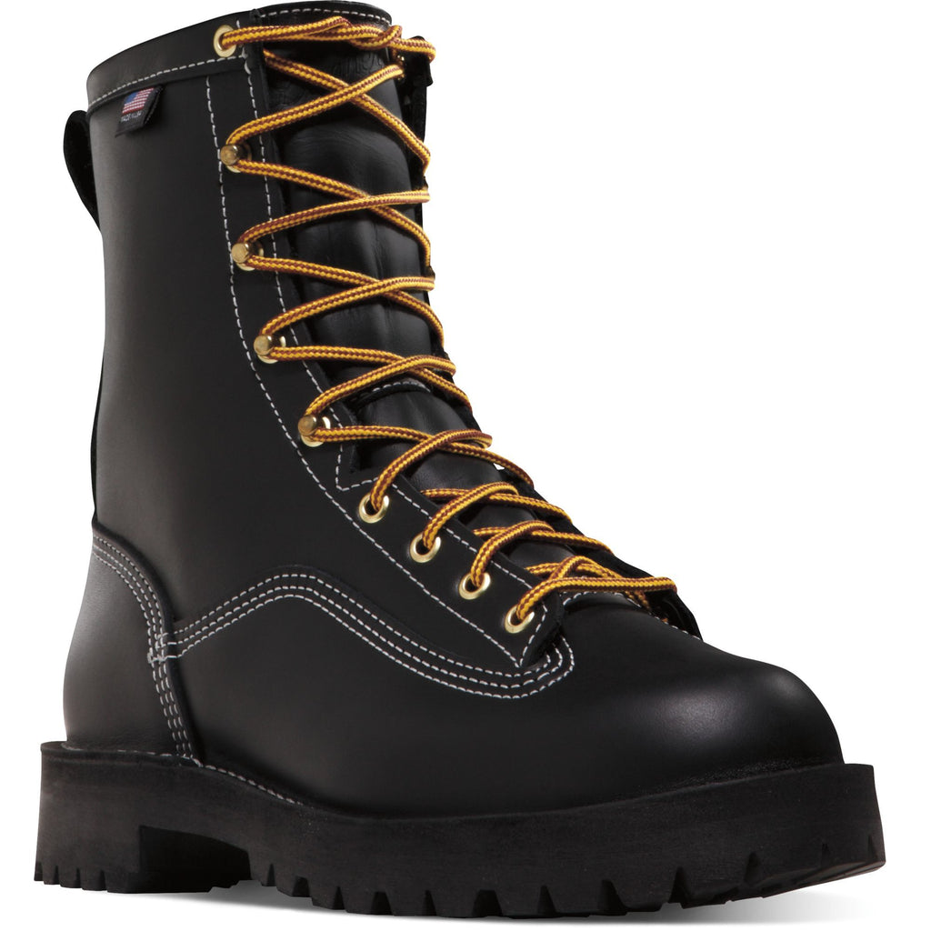 "Danner Men's Rain Forest USA Made 8"" Insulated WP Work Boot Black 11700 7 / Medium / Black - Overlook Boots"