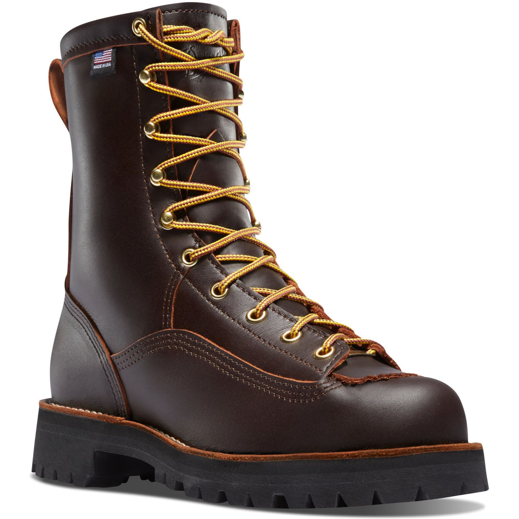"Danner Men's Rain Forest USA Made 8"" Soft Toe WP Work Boot Brown 10600 7 / Medium / Brown - Overlook Boots"