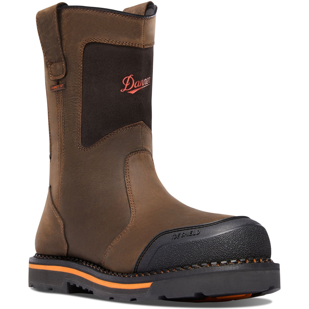 "Danner Men's Trakwelt 11"" Wellington Safety Toe Work Boot Brown 13249  - Overlook Boots"