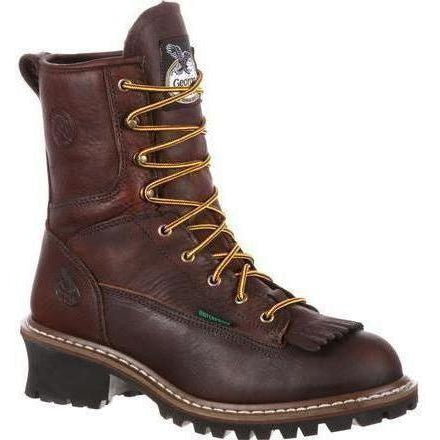 "Georgia Men's 8"" Steel Toe Waterproof Logger Work Boot - Brown - G7313 7.5 / Medium / Chocolate - Overlook Boots"