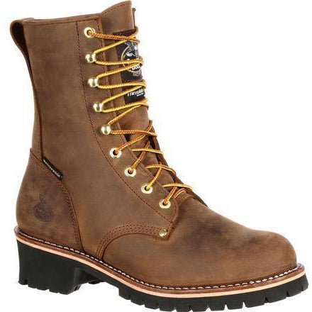 "Georgia Men's 8"" WP Steel Toe Ins. Logger Work Boot - Brown - GB00065 8 / Medium / Brown - Overlook Boots"
