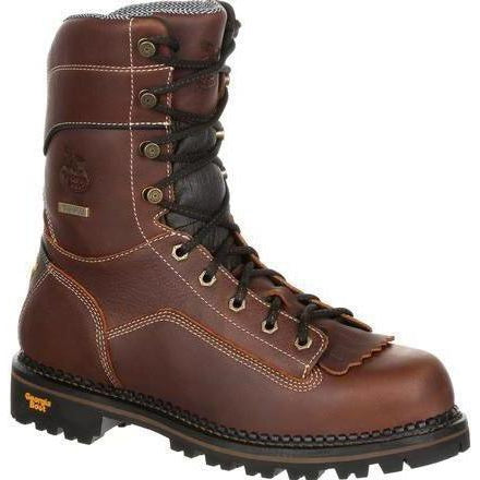 "Georgia Men's AMP LT 9"" Logger Low Heel WP Work Boot -  Brown - GB00237  - Overlook Boots"