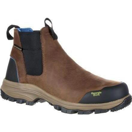 Georgia Men's Blue Collar Chelsea Waterproof Work Romeo Boot - GB00106 8 / Medium / Dark Brown - Overlook Boots