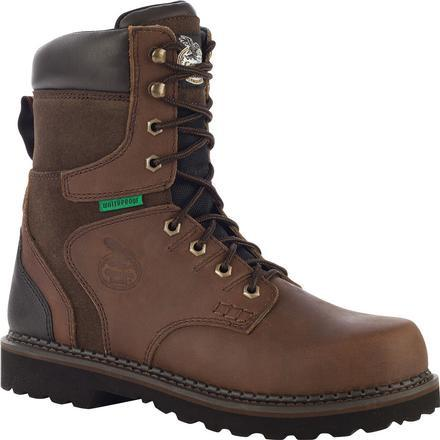 "Georgia Men's Brookville 8"" Stl Toe WP Work Boot - Brown - G9334 8 / Medium / Dark Brown - Overlook Boots"
