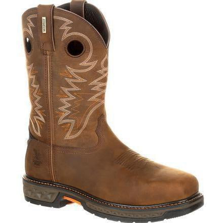 "Georgia Men's Carbo-Tec 11"" LT Alloy Toe WP Pull-On Work Boot GB00224 8 / Medium / Brown - Overlook Boots"