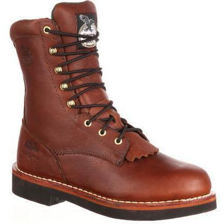 "Georgia Men's Farm and Ranch 8"" Lacer Work Boot - Brown - G7014 7.5 / Medium / Brown - Overlook Boots"